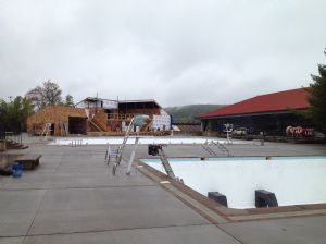 Pool deck and building